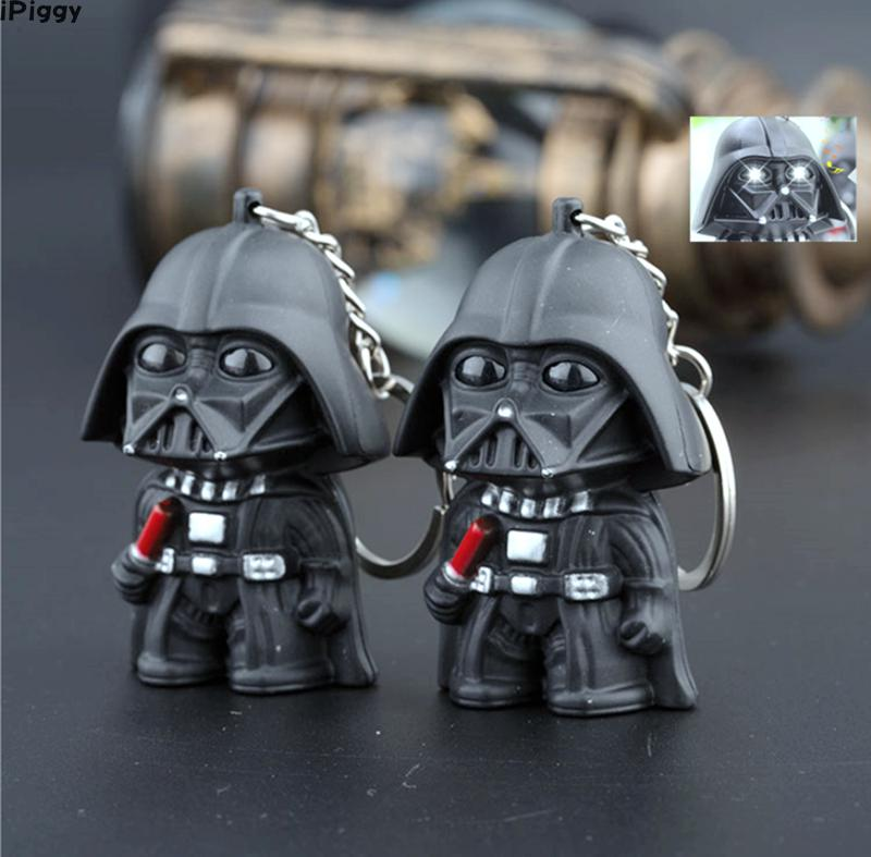 IPiggy New Arrive LED Flashlight Keychain Darth Vader The Storm Troops BB8 Keychain With Sound The Force Awaken Keyring