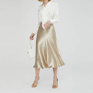 Office Skirts Wet-Look Metallic Party Plain Glossy Shiny PVC High-Waist Fashion Solid