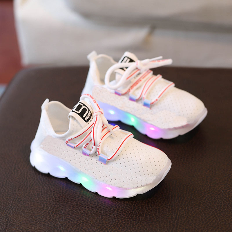LED lighting high quality children casual shoes Patchwork all seasons kids sneakers Mesh air glowing girls boys shoes footwear patchwork led shoes sneakers