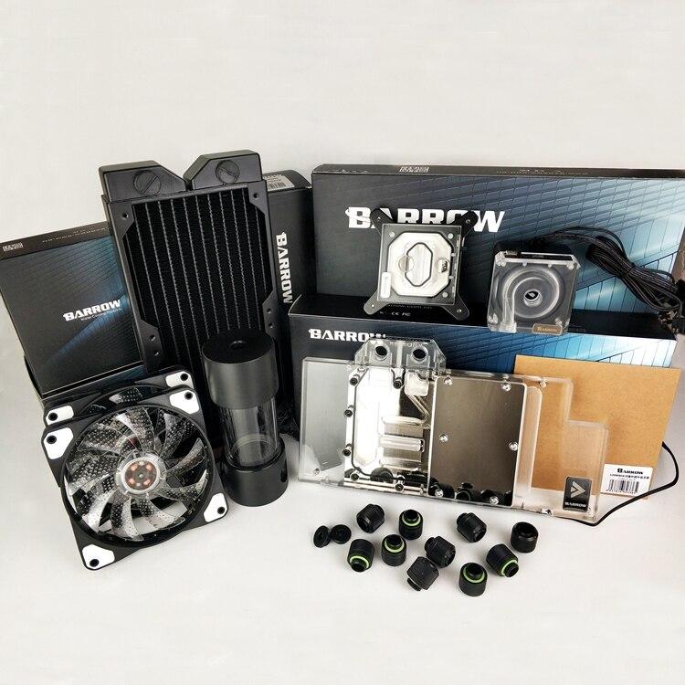 Kits de refroidissement à eau Barrow tuyau + radiateur + bloc CPU + bloc GPU + pompe + réservoir utilisation pour Kit souple AM3 AM4 + Intel 115X2011