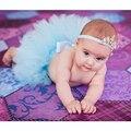 Falda del Tutú del Pettiskirt del bebé Fotografía Proposición bebé falda Del Tutú Mullido con La Corona de La Venda Del Bebé bola vestido falda del tutú Azul color