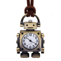 Creative Quartz Pocket Watches Men Women Bronze Vintage Pendant Watches Open Face Leather Pocket Watch Chain