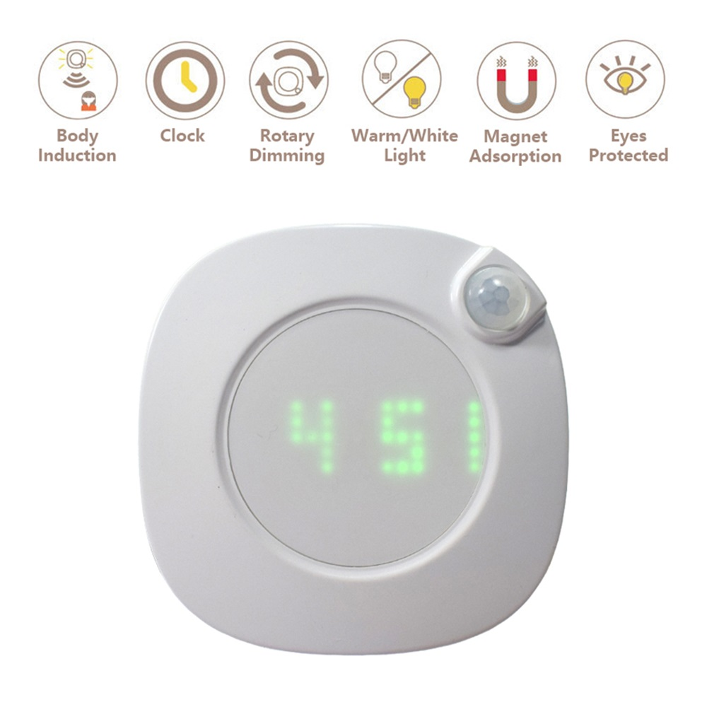 Image 2 - LED Night Light Human Body Infrared Sensor Light Night Lamp Battery Powered Time Clock Adjustable Lighting for Toilet Wardrobe-in LED Night Lights from Lights & Lighting