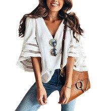 ZOGAA crop top women fashion voile Casual short blouses 12 colors V-neck harajuku shirt plus size S-XXXXXL clothes