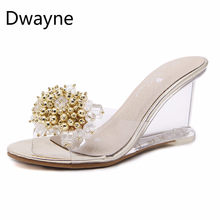 6c90259a80 Dwayne 2018 new sexy crystal clear high heels sandals woman's transparent  slippers(China)