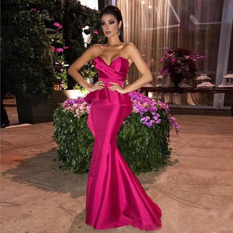 Fuchsia Long 2019 Mermaid Pink Evening Dresses Sweetheart Formal Zipper Back Prom Gowns Maid Of Honor Dress Robe De Soiree