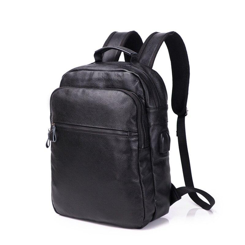 100% Echtem Leder Männer Rucksäcke Neue Marke Mode Echte Natürliche Leder Student Rucksack Junge Luxus Design Computer Laptop Tasche SpäTester Style-Online-Verkauf Von 2019 50%