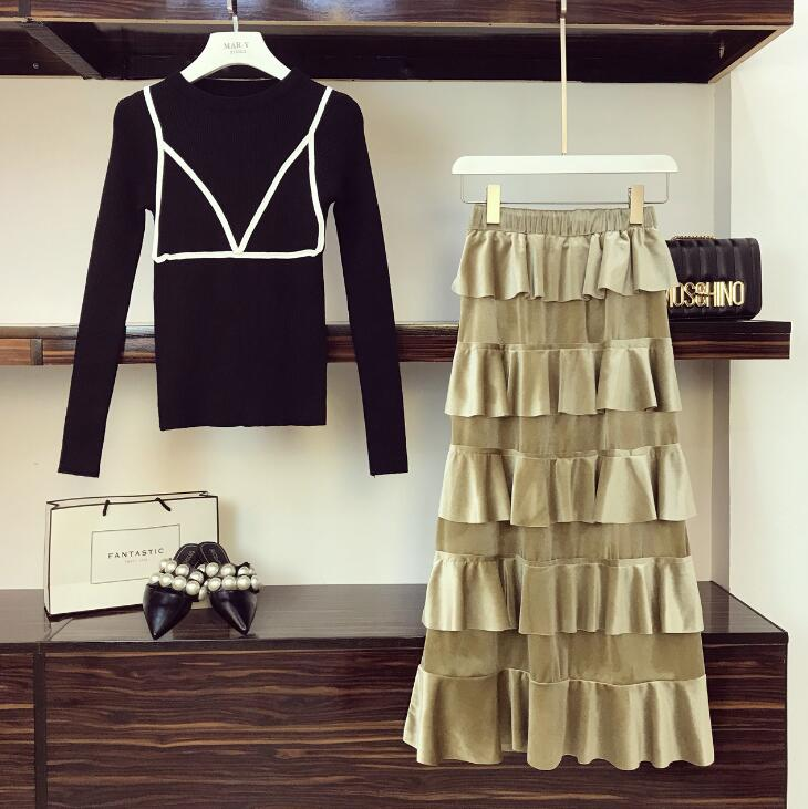 194bcf0ca4ca 2018 Cake Skirts Suit Long Skirt Suits Women's Autumn Knitted Sweater +  Loose Waist Velvet Skirt Two Piece Sets Girls Students ~ Best Seller June  2019