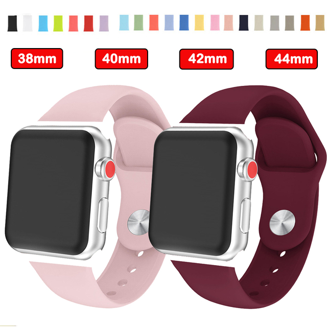 Sport silicone watchbands waterproof Strap band for apple watch strap 38mm/42mm 40mm/44mm For iwatch seris 4 3 2 1 New wristband