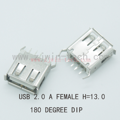 10PCS/PACK USB 2.0 jack A Type USB Connector Female Socket Bent Feet 180degree DIP (H=13.0mm) 10pcs lot micro usb connector jack