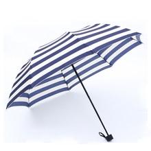 Kocotree Windproof Travel Umbrella MANUAL OPEN Waterproof Three Folding Metal Shaft Color Stripe Women Men Big Rain Umbrellas