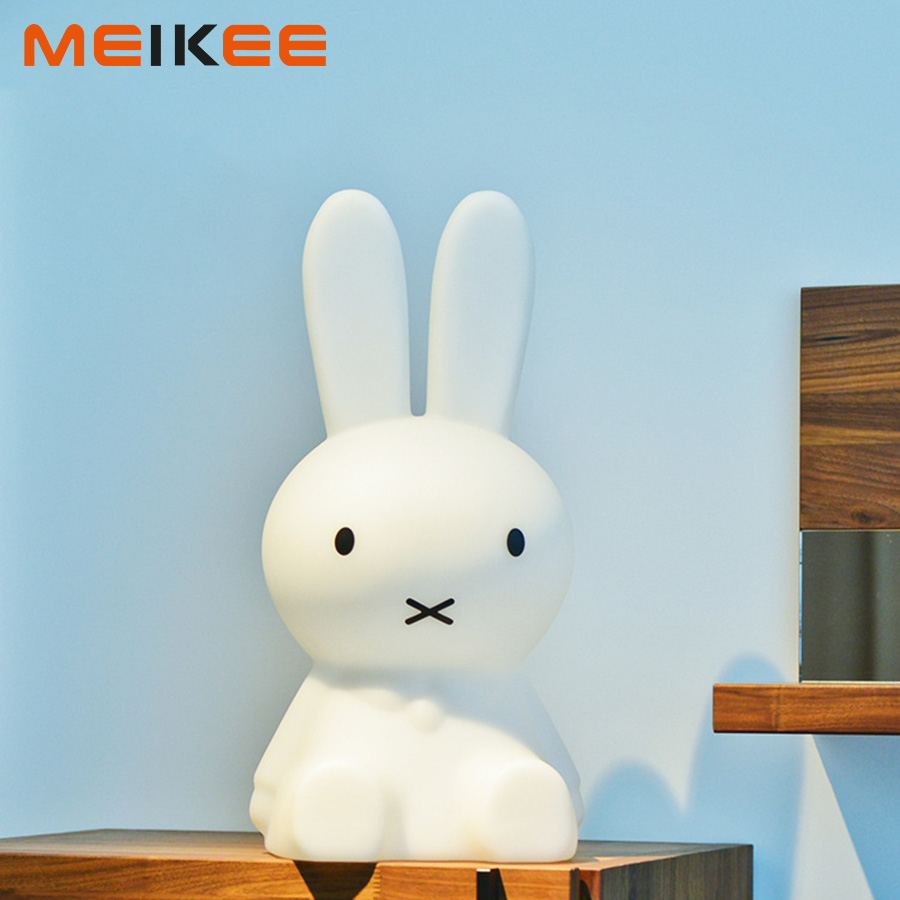 28cm Miffy Rabbit LED Night Light Children Baby Bedroom Night Lamp Cartoon Decorative Bedside Sleeping Lamp for Kids Gift beiaidi 7 color usb rechargeable rabbit led night light dimmable animal cartoon light with remote baby kids christmas gift lamp