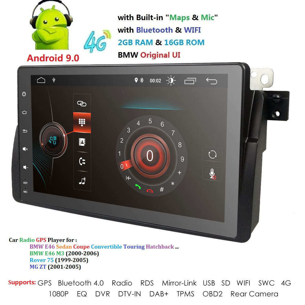 Android 9.0 4G Auto GPS-PLAYER Für BMW E46 M3 MG ZT ROVER 75 GPS stereo audio navigation multimedia bildschirm kopf einheit USB OBD2 TUPFEN image