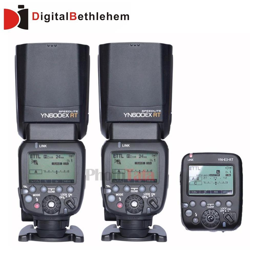 2 xYONGNUO YN600EX-RT + YN-E3-RT мастер вспышка Speedlite для канона RT триггер радио система, st-e3-rt, 600EX-RT