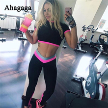 Ahagaga 2017 Summer Autumn Fitness Suits Sets Women Tracksuits Costume 2-pieces (Sexy Tops+Leggings) Patchwork Women Suits Set
