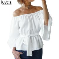Luvcis Fashion Off Shoulder Women Blouses Summer Womens Slash Neck Bow Tie Top Sexy Bind Chiffon Blouse Flare Sleeve Women Blusa