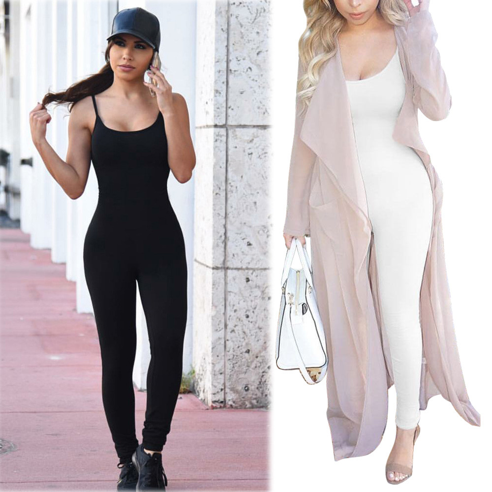Bodysuit Women fashion Sexy Sling Condole belt Sports Casual Clubwear Party Bandage Long Jumpsuits Summer Party Playsuit #8