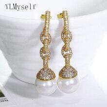 Wiszące długie kolczyki dla kobiet pendientes aretes brincos 14 mm perła modny biały i złoty kolor biżuteria na oświadczenie