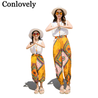 Mother Daughter Clothes Family Sets Bohemian Family Look Summer Holiday T Shirt Pants Father Son Shorts