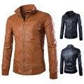 2016 Мода Искусственной Кожи новый стиль мужские куртки краткости нравственности кожа воротник мужчин мыть локомотив кожаное пальто