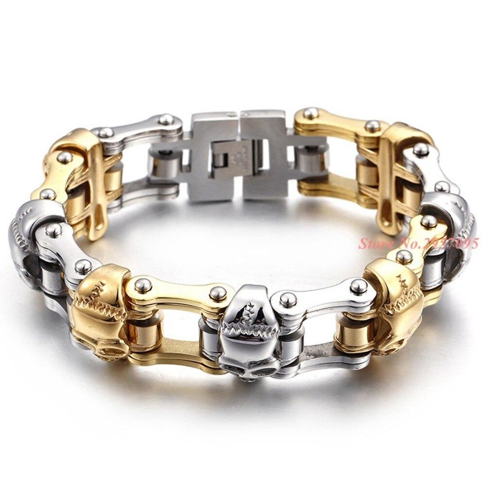 Punk 23 cm Long vélo chaîne Bracelet pour hommes en acier inoxydable crânes charme lien chaîne Bracelet hommes mode bijoux