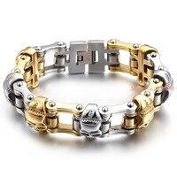 Punk 23cm Long Bike Chain Bracelet For Men Stainless Steel Skulls Charm Link Chain Bracelet Mens Fashion Jewelry