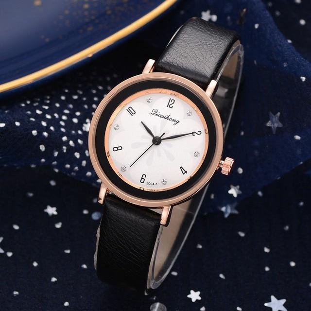 Watches Women Fashion Luxury Leather Strap Ladies Bracelet Watch Rose Gold Rhine