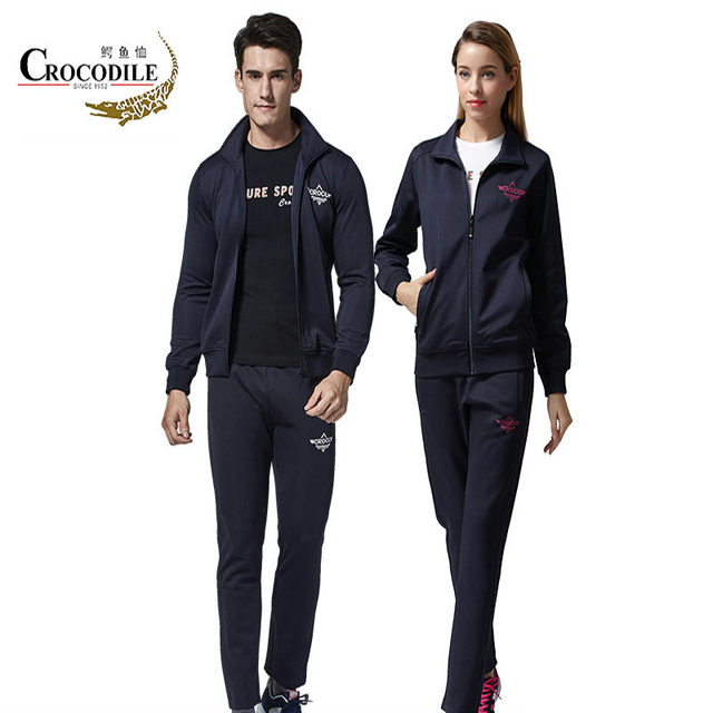Crocosport Men Women Running Suit Sport Dress Leisure Cardigan Two Piece Set Sportswear S