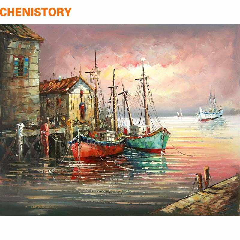 Sunset Boat Seascape Canvas Modern Picture Acrylic DIY Paint Set by Numbers Kits