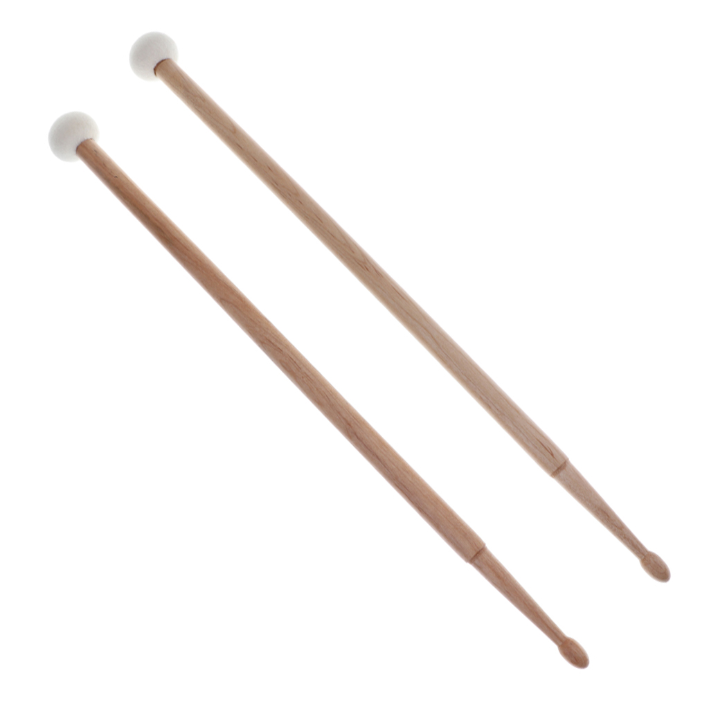 2 Pieces Double Head Drum Cymbal Gong Mallet Soft Hammer Sticks Mallets Rods Felt Hammer 419mm