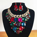 2017 Nueva Moda Multicolor de Cristal Perlas Africanas Sistemas de La Joyería Conjuntos Collar Pendientes para Las Mujeres Joyería de La Boda Establece LF-G023