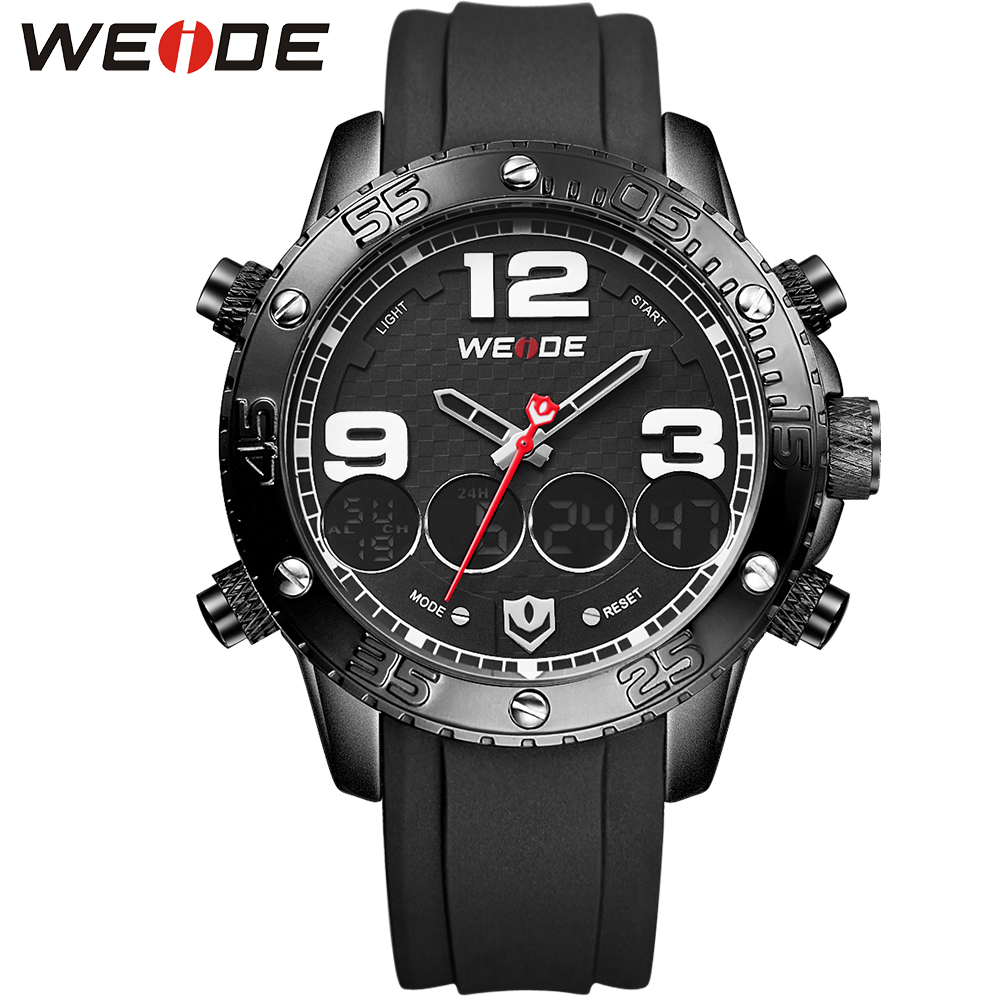 WEIDE Brand Digital Date Sport Watches For Men PU Band Outdoor Analog LCD Digital Display Quartz Wrist Watch Male Clock Original weide new watch analog digital display outdoor men sport quartz movement military watch back light stainless steel band 6 colors
