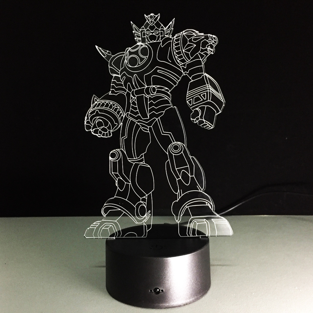 New Cool Anime Transformation 3D Lamp Kids Toys Action Figures Movie Robot LED Night Light Kids Boys Toys Gifts