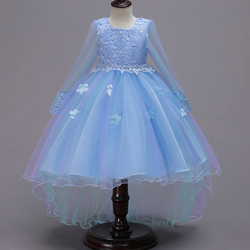 Long Sleeve Tulle Wedding Clothes Girl Dress First Communion Dresses Girls Ball Gown For Girls Children Clothing Baby Costume
