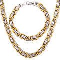 Stainless Steel Set Bracelets Gift New Necklaces Double Twisted Chain Gold Plated For Men's Punk Jewelry Set NH211