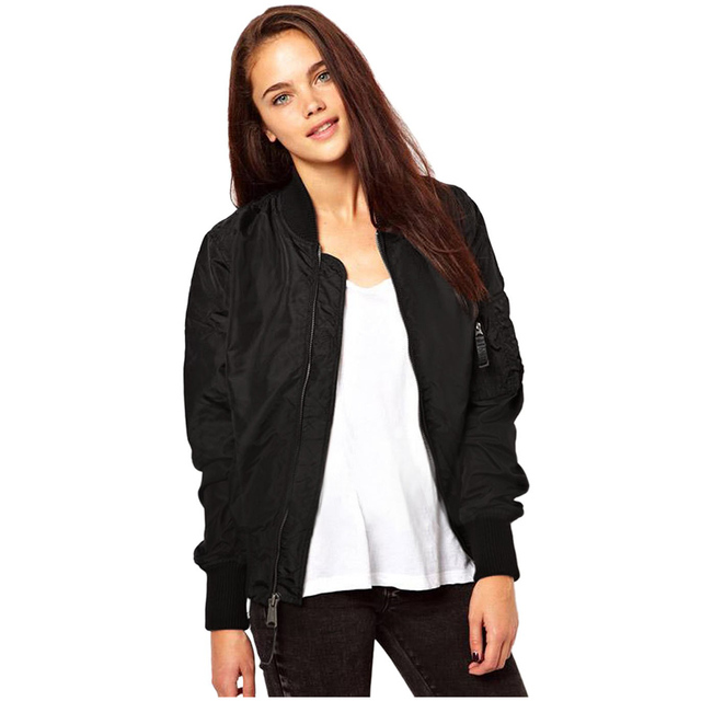 Fashion Women Casual Classic Zip Up Biker Baseball Jacket by Qepae