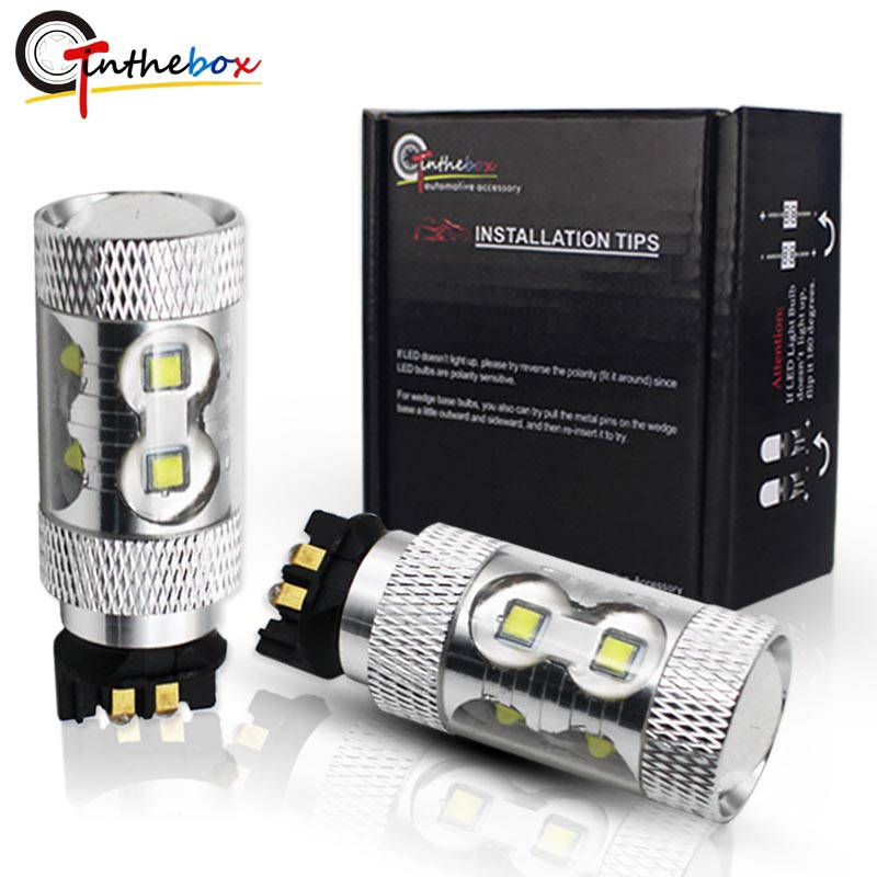 Gtinthebox (2) White Yelloe 50W CREE Chips PW24W PWY24W LED Bulbs For Audi BMW VW Turn Signal Lights or Daytime Running Lamps amber error free pwy24w pw24w led bulbs for audi a3 a4 a5 q3 vw mk7 golf cc front turn signal lights for bmw f30 3 series drl