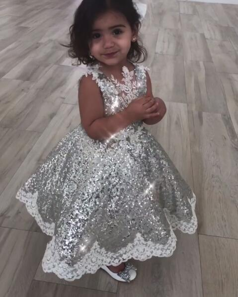 d9bf792d Sparkly silver bling sequins ball gown baby 1st birthday party dresses tea  length laces flower girl dress toddler pageant gown