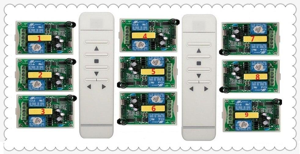 AC 220V intelligent digital RF wireless remote control switch system & 9pcs receiver Work alone/garage door/blinds 2* transmitte 2 working ways rf wireless intelligent