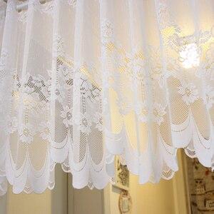 Cortina de tul transparente para ventana blanca, cortinas para sala de estar, con encaje de cortina, QT030 #4