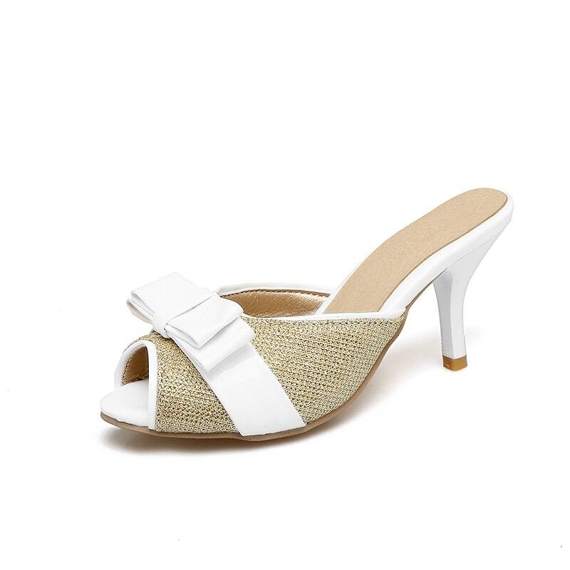 Arco gold Señora Lujo Zapatos Flop Black Thin Lindo Zapatillas Brillante Cuero Femenina De Mujer siliver Tacones Mujeres Verano Flip Tamaño Más wq0XHWz