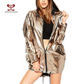 A FOREVER 2017 New Arrival Punk Style Metallic Gold Women Jackets Zipper Hooded Outwear Coats for Women  Jacket with a Hood M071