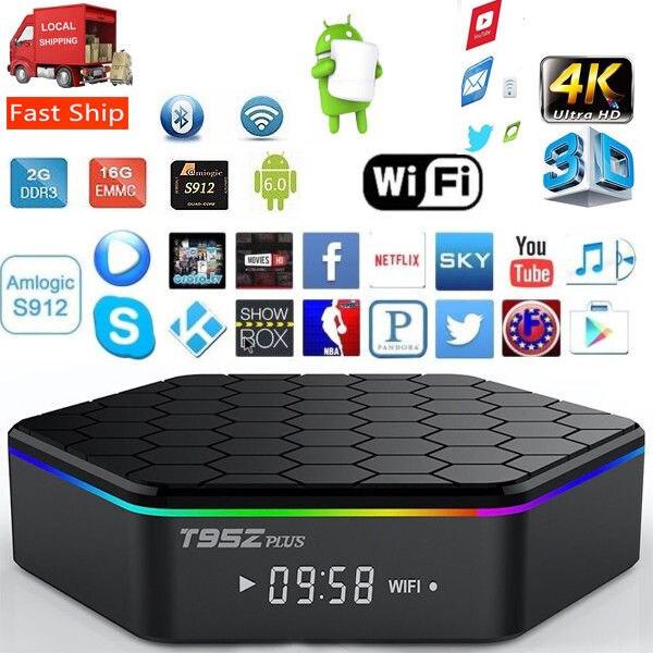 T95Z Plus TV Box S912 lecteur multimédia 8 cœurs Streamer 2G + 16G intelligent Android TVBox 7.1 2.4G/5 GHz WiFi BT4.0 4 K décodeur