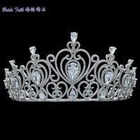 Полный AAA CZ Диадемы Коронки Люкс Свадебное Аксессуары Для Волос Ювелирные Изделия День Рождения Корона Headpece TR15083