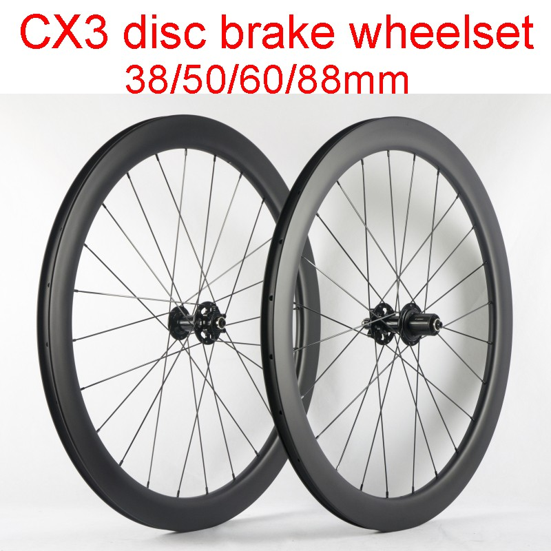 Disc brake 24mm Clincher carbon cyclocross bicycle wheels 20.5//23//25mm width