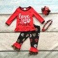 Хлопок день святого валентина бутик девочки детские наряды одежда оборками костюм люблю тебя больше сердце печати топ match аксессуары