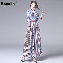 Banulin Runway Designer Hit Color Stripe Floor-Length Maxi Dress 2019 Fall Women Bow Tie Collar Vintage Printed Swing Long