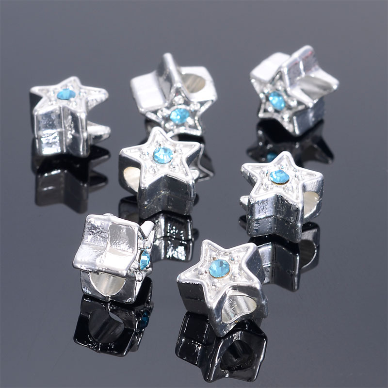 Beads Expressive Miaso 10 Pieces/lot Blue Crystal Silver Plating Star Large Hole Spacer Pendant Charms Beads For Diy Jewelry Making Rapid Heat Dissipation
