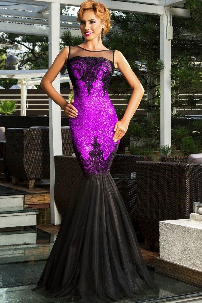 Vert/argent/or/noir/violet Sequin appliqué longue robe pure Top femmes formelle sirène fête formelle robe robes Longo 60633 - 6