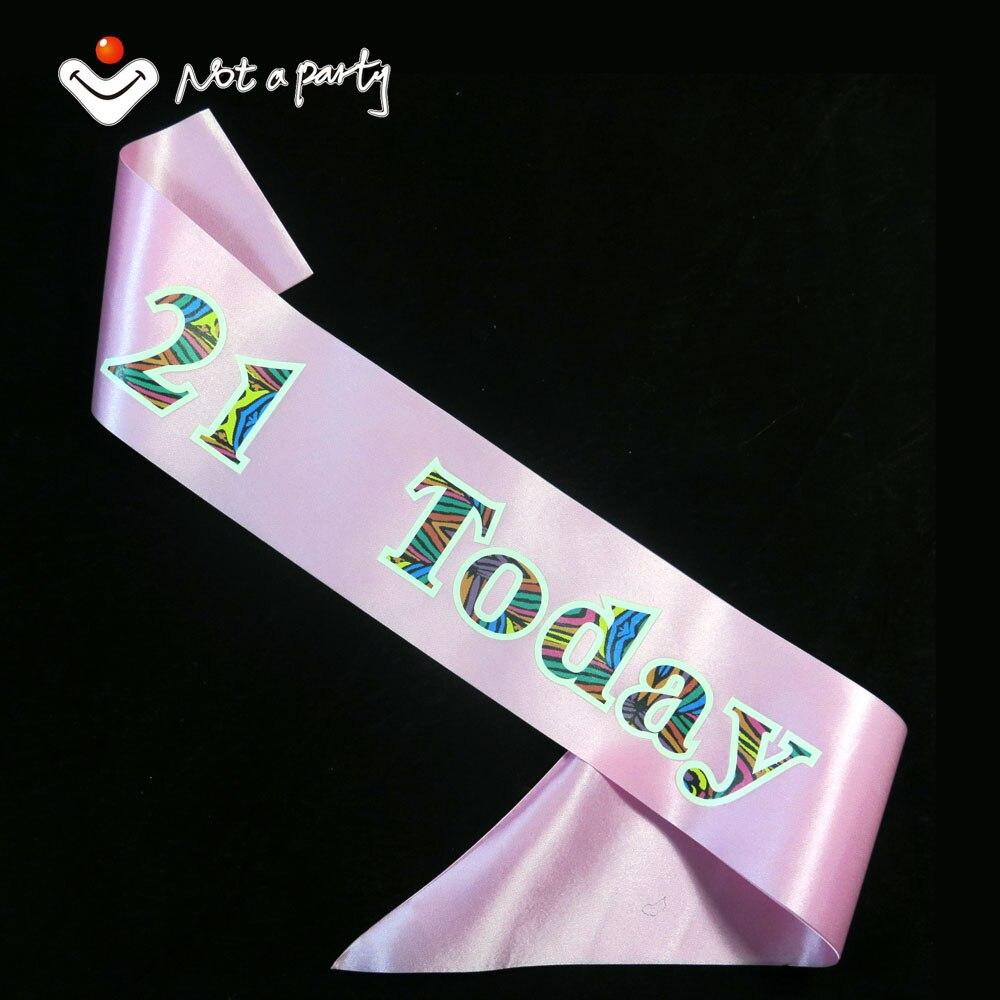 Birthday 21 Souvenirs Party Sash Multi Color Printing